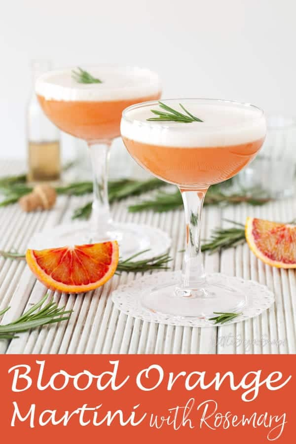 Blood Orange Martini with rosemary & campari #bloodorangemartini #bloodorangecocktail #bloodorangerosemary #bloodorangedrink #bloodorange #bloodorangecampari