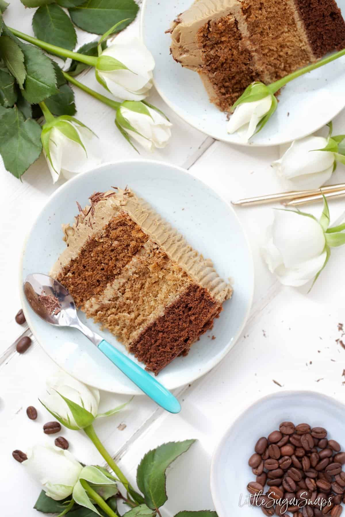 Triple Coffee layer Cake slice - latte cake, mocha cake, coffee cake layers