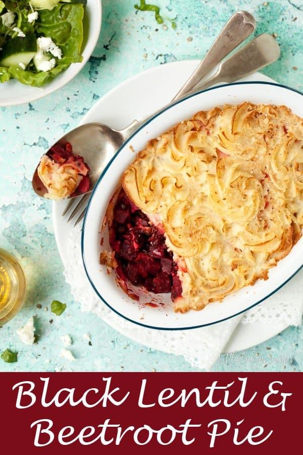 Vegetarian Black Lentil & Beetroot Pie #pie #lentilpie #veggiepie #blacklentils #belugalentils #beetrootpie