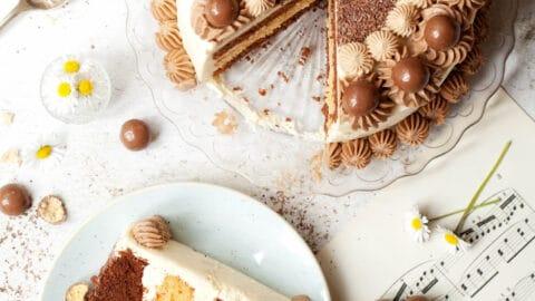 Chocolate & Vanilla Malted Milkshake Cake with Italian Buttercream