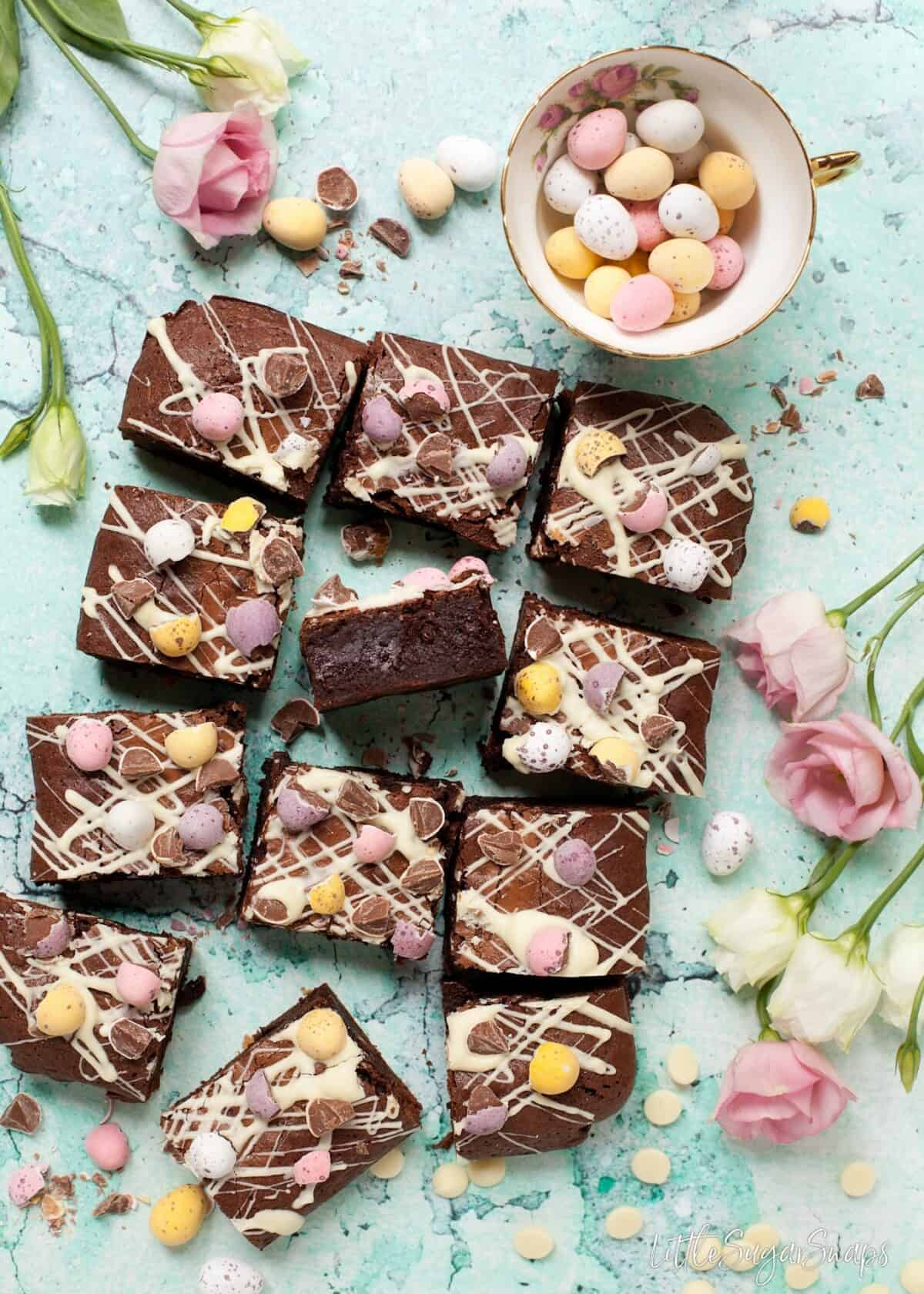 Mini Egg Brownies chopped into squares.