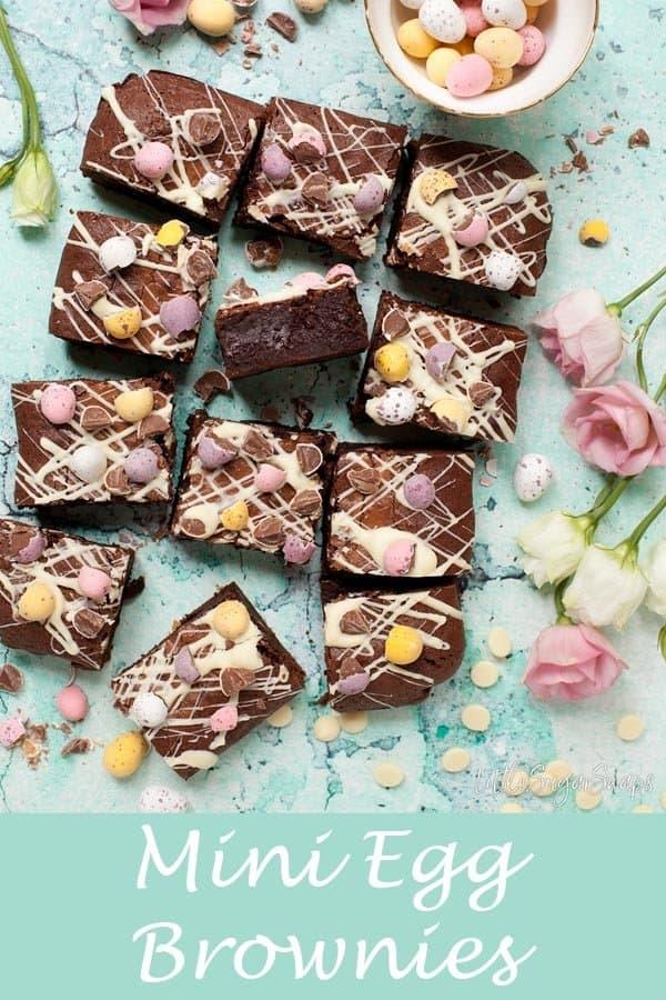 Mini Egg Brownies #brownies #minieggbrownies #easterbrownies #minieggs #easterbaking