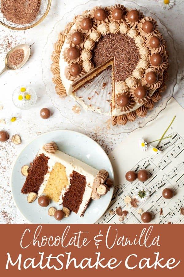 Chocolate & Vanilla Maltshake Cake #maltshakecake #maltshake #maltedchocolatecake #maltedvanillacake #maltcake #maltedmilkcake #Italianbuttercream