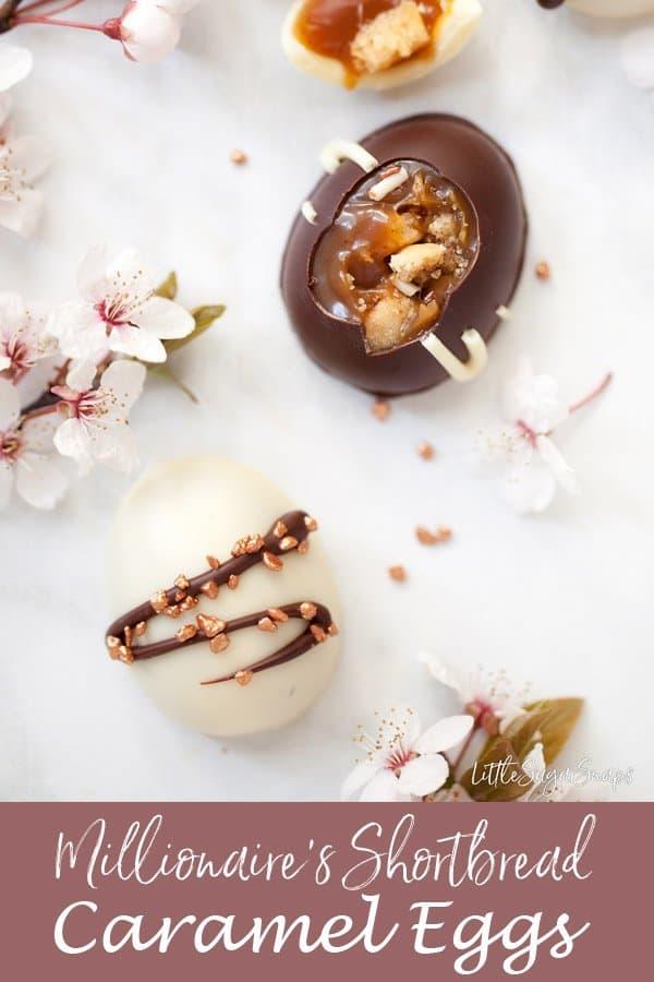 Millionaire's Shortbread Caramel Easter Eggs #carameleggs #carameleastereggs #caramelshortbread #millionairescaramel #millionairescaramelshortbread #millionairesshortbreadeggs #caramelchocolate #caramelchocolateggs #millionairesshortbread