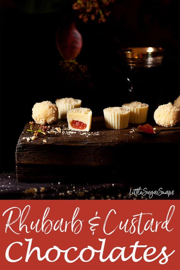 Rhubarb Crumble & Custard Chocolates #rhubarbcrumble #custardchocolate #custardtruffle #custardcream #rhubarbandcustard