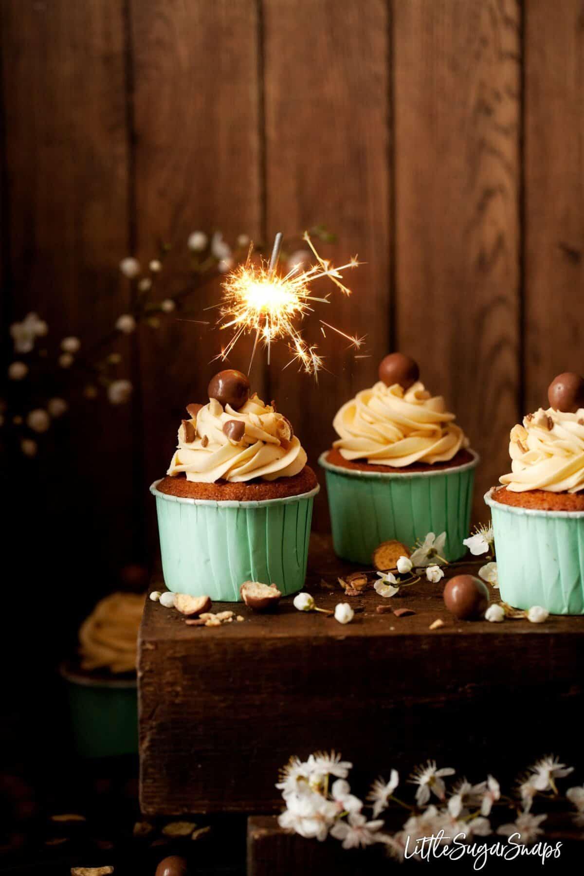 Vanilla Malt Cupcakes with a sparkler