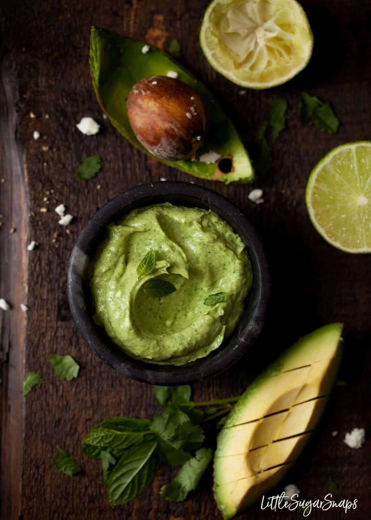 Healthy avocado and feta dip