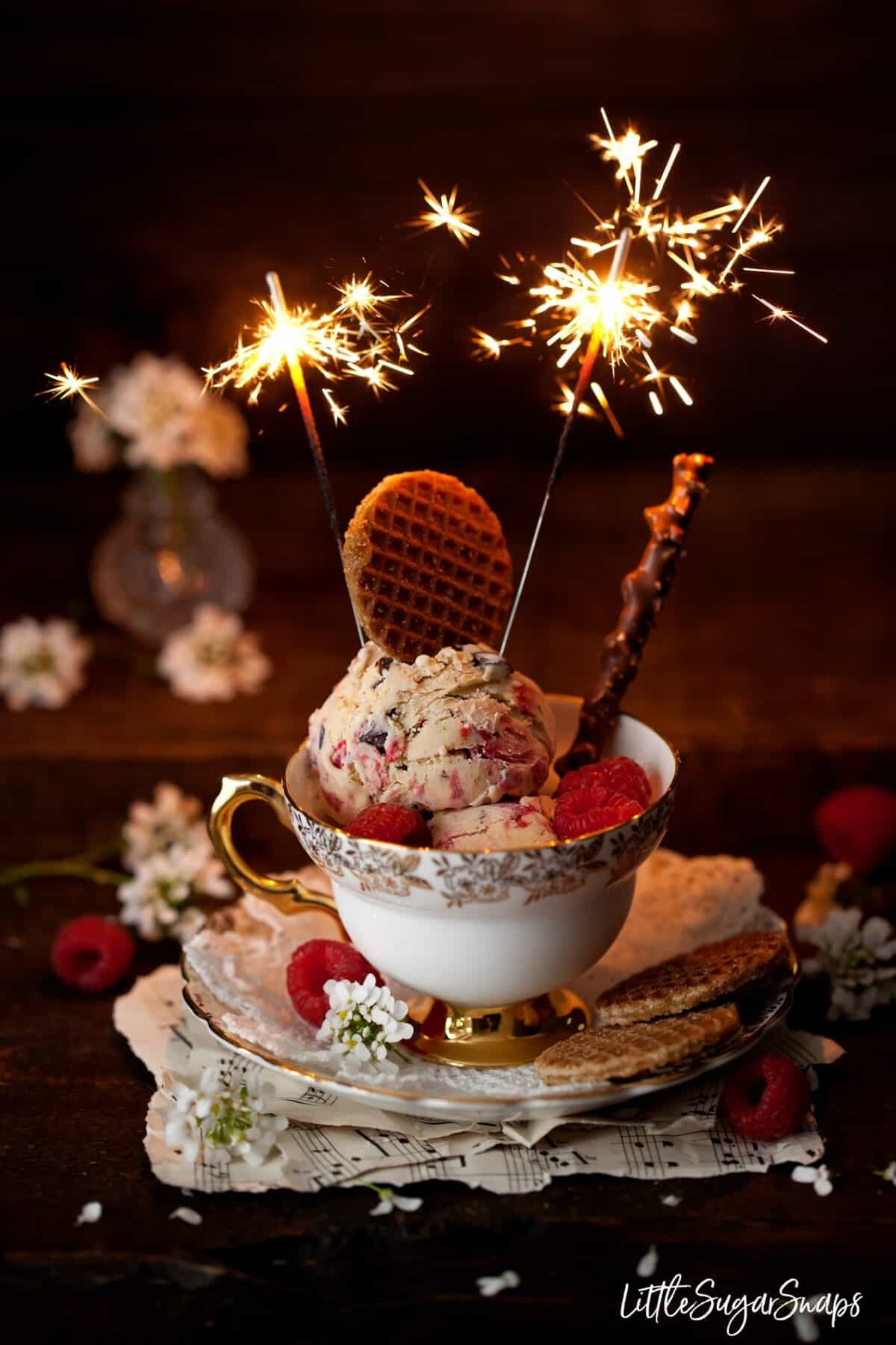 Malted Milk Ice Cream in a bowl with sparklers