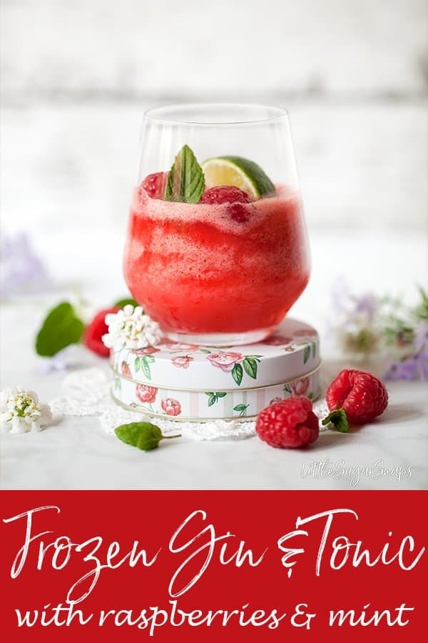 Frozen Gin & Tonic with raspberries & mint #gin&tonic #ginandtonic #g&t #frozenginandtonic #frozengin&tonic frozeng&t #frozengin #ginslushie #ginslushy