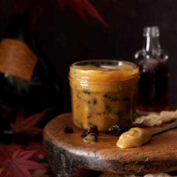 A jar of rum & raisin caramel sauce