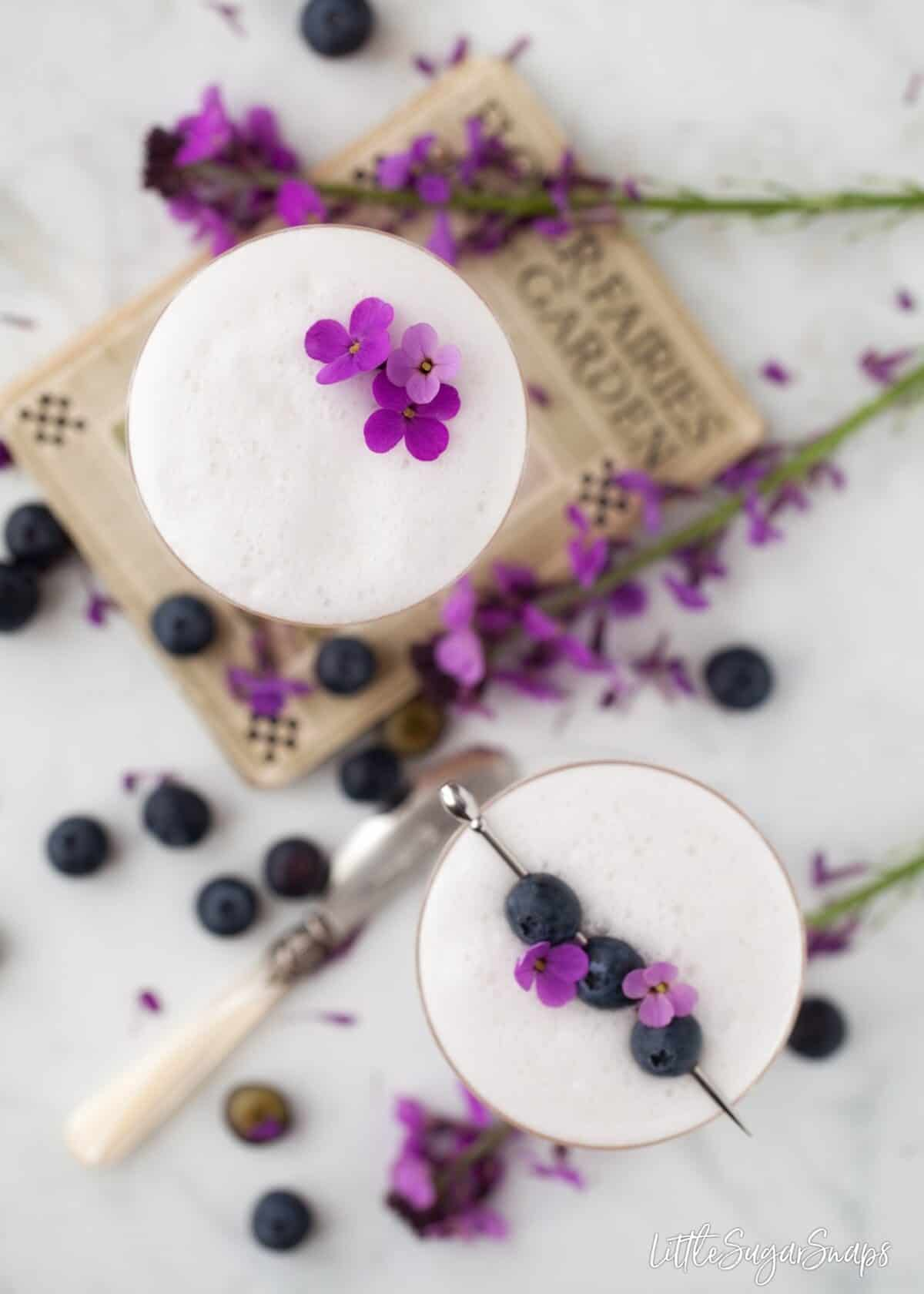 Two Violet Blueberry Gin Sour cocktails