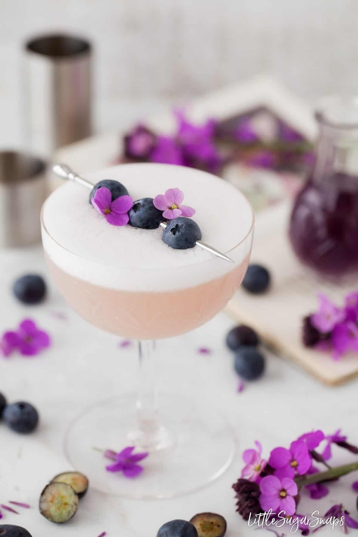 Violet Blueberry Gin Sour garnisged with blueberries and flowers