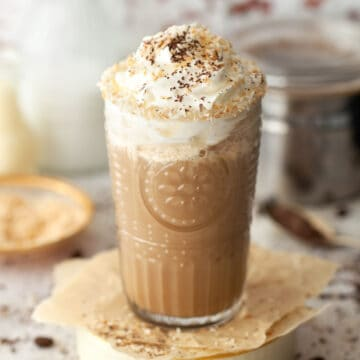 sweet iced coffee with cream and toasted coconut