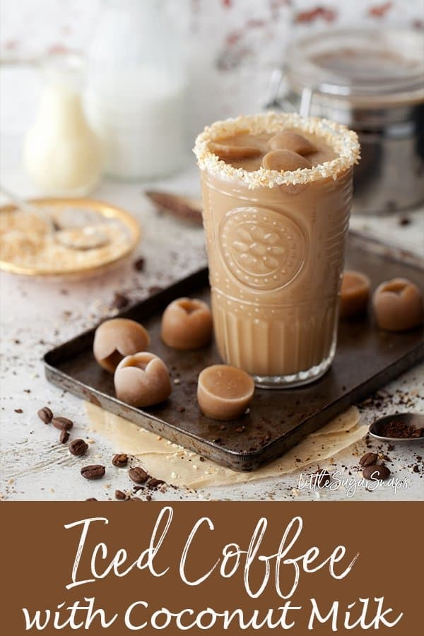Sweet Iced Coffee with coconut milk is easy to make and stores well in the fridge. Make a large batch and save yourself a few trips to the coffee shop this summer #icedcoffee #sweeticedcoffee #coconuticedcoffee #coffeedrink