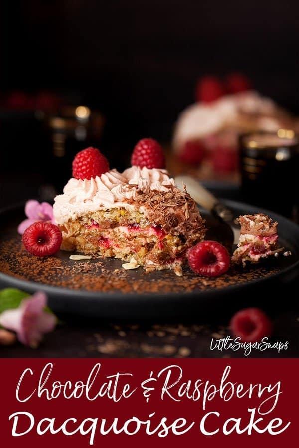 Chocolate & Raspberry Dacquoise Cake #dacquoise #dacquoisecake #meringue #meringuecake #showstopper