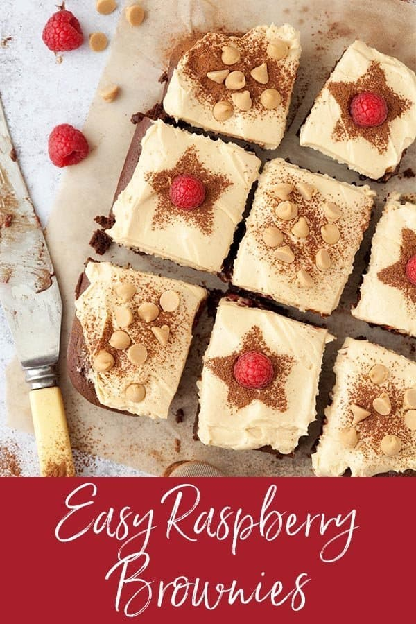 Easy Raspberries brownies with frosting #brownies #chocolatebrownies #raspberrybrownies #peanutbutterfrosting #mascarponepeanutbutter