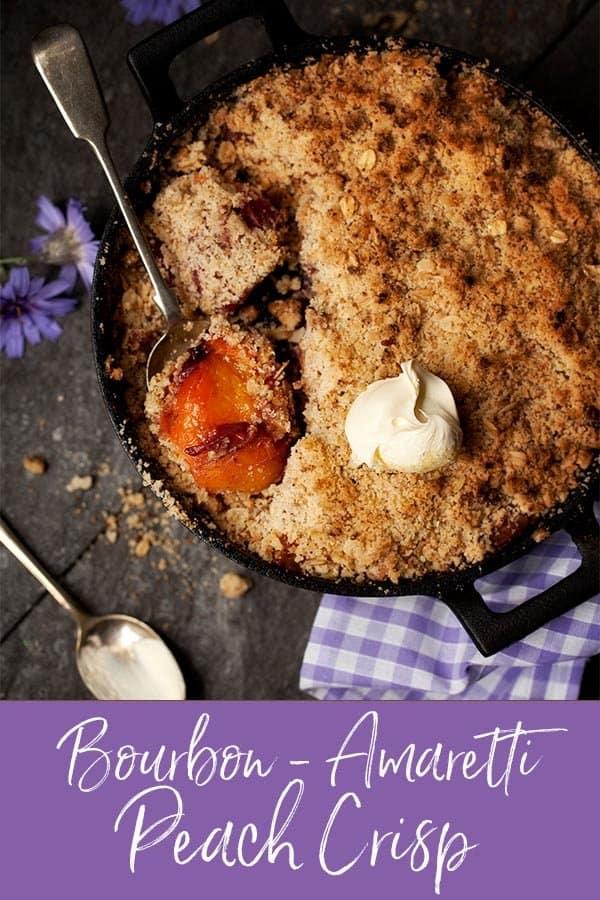 Bourbon Peach Crisp with amaretti cookies #peachcrisp #peachcrumble #amaretticrisp #peachdessert