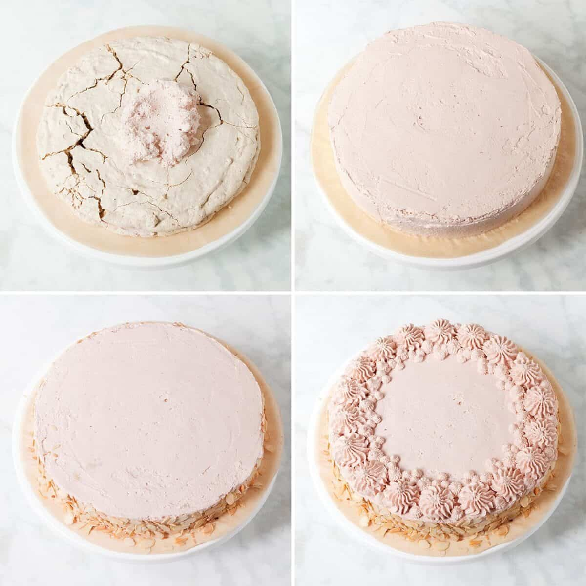Decorating a raspberry dacquoise cake step by step