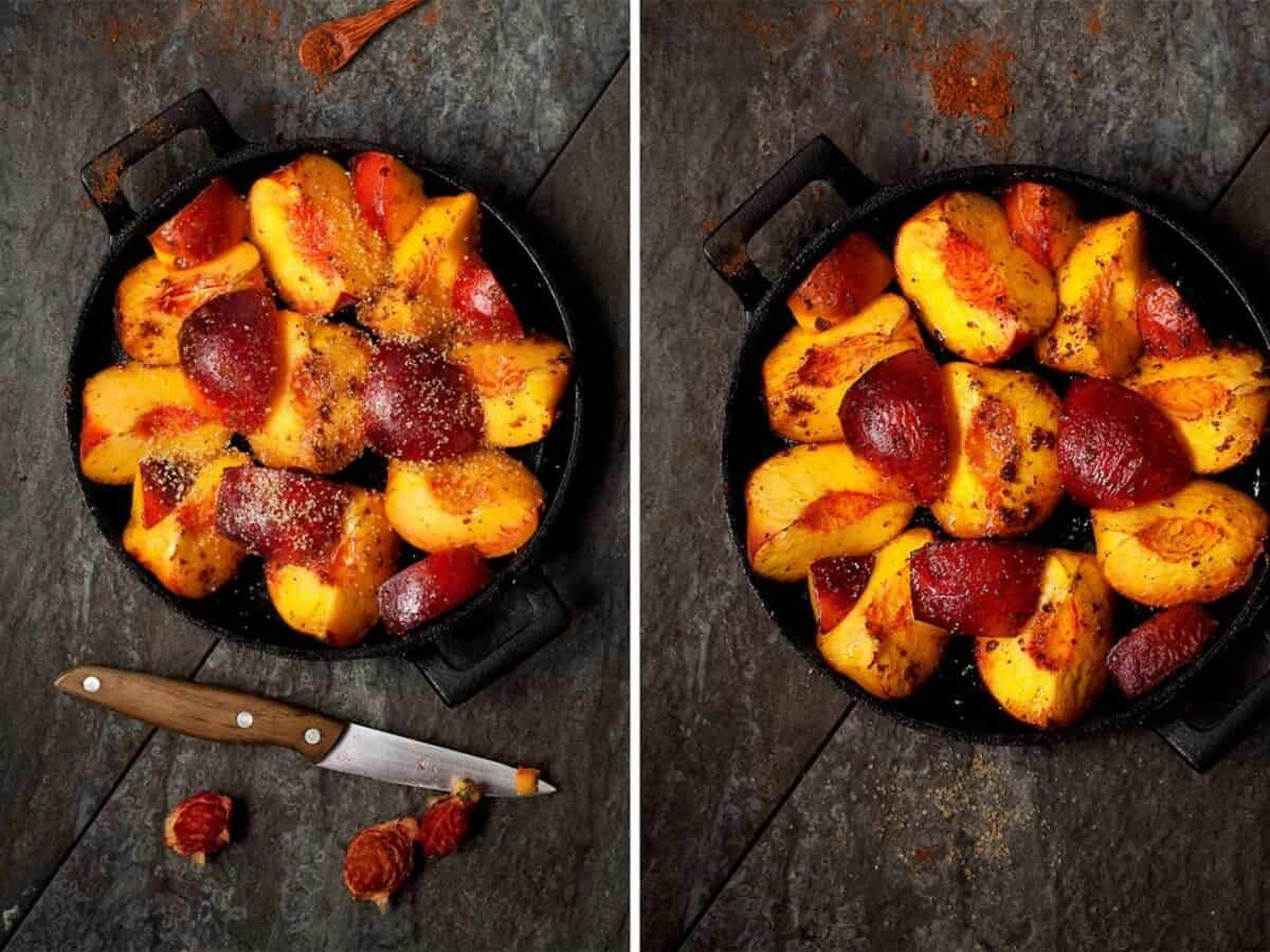 Roasting peaches in a cast iron skillet for a crumble