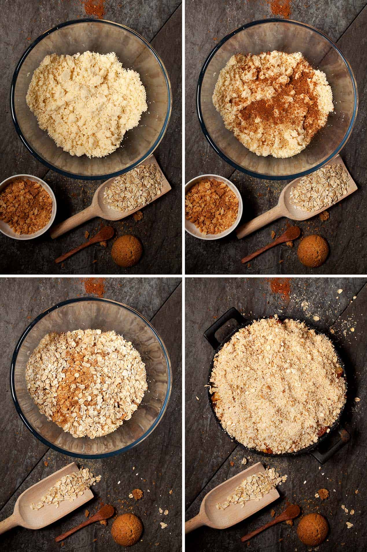 Preparing a crumble topping for peach crisp