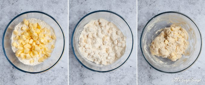 3 step by step images to making rough puff pastry - ingredients in a bowl, ingredients tossed together and ingredients mixed to a dough
