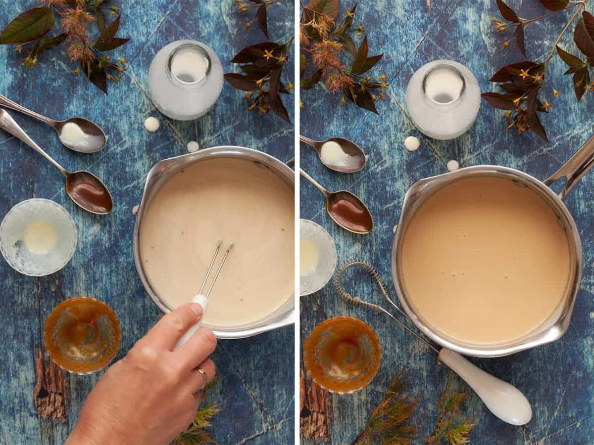 Process images of caramel liqueur with bourbon being made - whisking the ingredients together in a pan