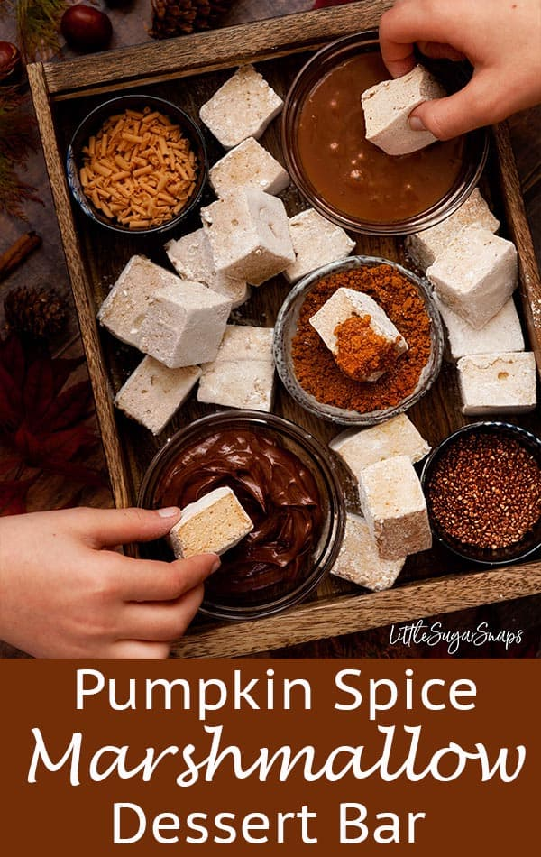 Pumpkin Spice Marshmallows are the ultimate fall treat. Soft, fluffy and warmly spiced, these treats are a welcome sight on their own or as part of a dessert dipping bar at Halloween and Bonfire Night parties #pumpkinspicemarshmallows #pumpkinspice #marshmallows #homemademarshmallows #dessertbar #dippingbar
