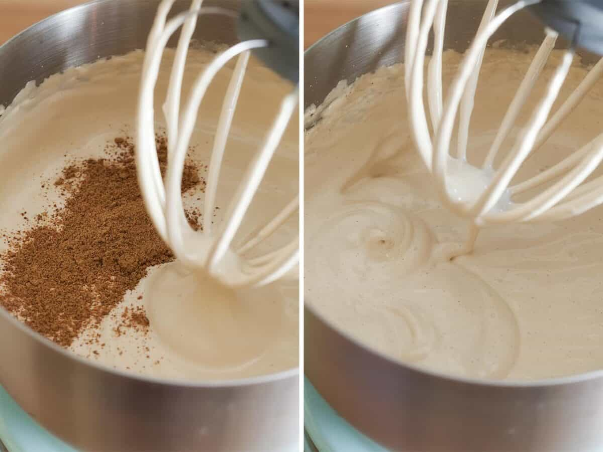 step by step images of egg whites and syrup being whipped. First image shows autumn spice added after 5 minutes of whipping. Picture 2 shows fully whipped with the spice mixed in