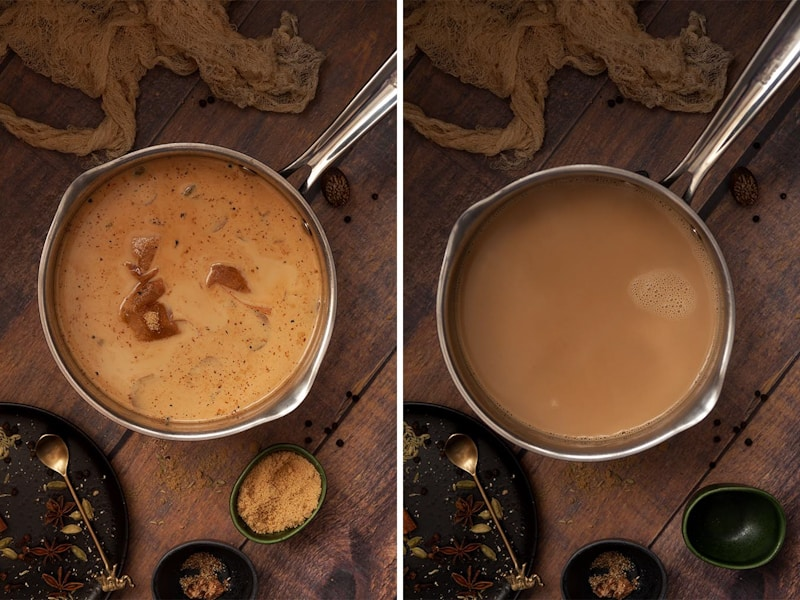 step by step images for making rum masala chai. Side by side images of after the milk has been added then after the tea has been cooked and strained