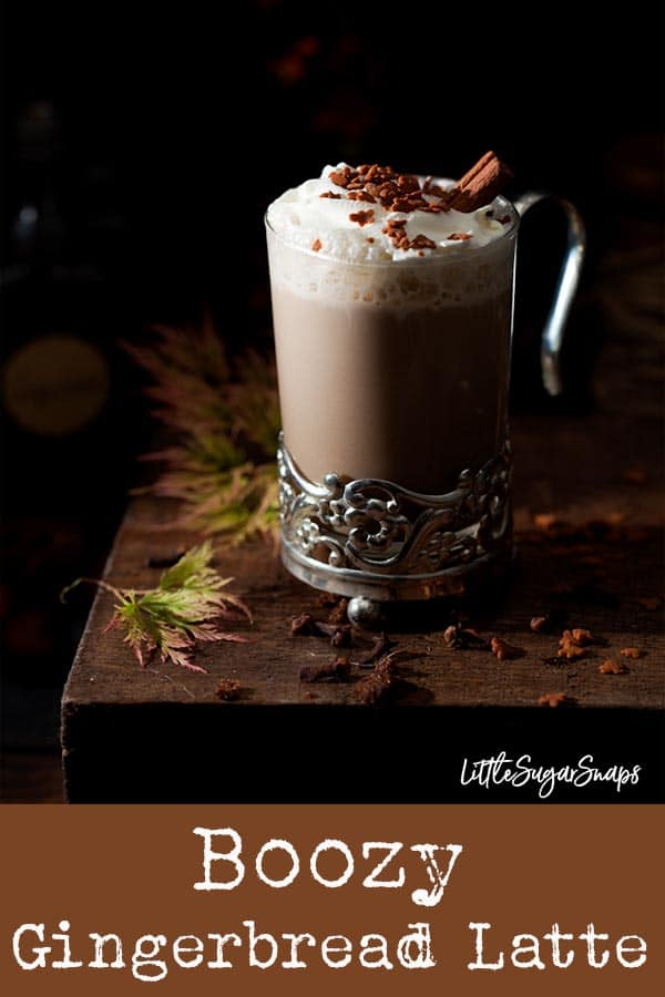 Boozy Gingerbread Latte - a warming and comforting milky coffee drink flavoured with homemade gingerbread syrup and a shot of coffee liqueur. Great as a comforting night-cap #gingerbreadlatte #boozygingerbreadlatte #spikedgingerbreadlatte #gingerbreadsyrup #gingerbreadrecipe