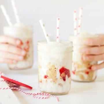 Three glasses of PB&J milkshake
