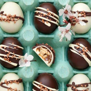 Bite-sized chocolate caramel eggs in an egg box