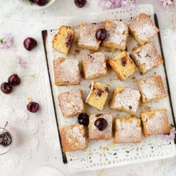 Gluten free cherry cake cut into squares