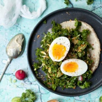 kale and egg salad on hummus