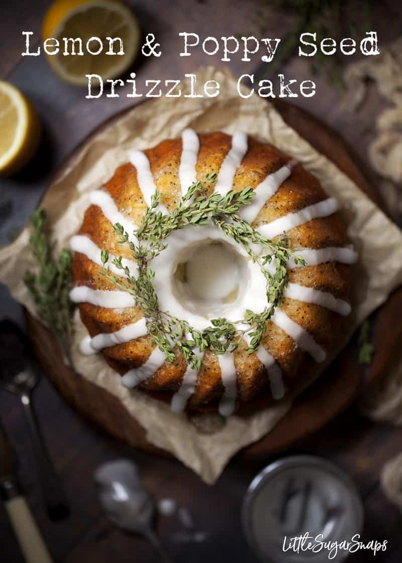 This easy lemon and poppy seed drizzle cake with thyme is packed with flavour and texture. The delicate lemon sponge is loaded with poppy seeds and thyme and topped with classic crunchy lemon drizzle as well as a zesty lemon icing. #lemondrizzlecake #lemondrizzle #lemonthymecake #lemonpoppyseedbundt #lemonpoppyseeddrizzlecake