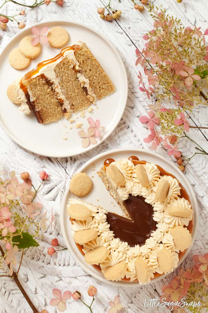 millionaire's shortbread cake with caramel and chocolate sauce with a slice cut out on a plate on a white background with pink flowers and buds in view