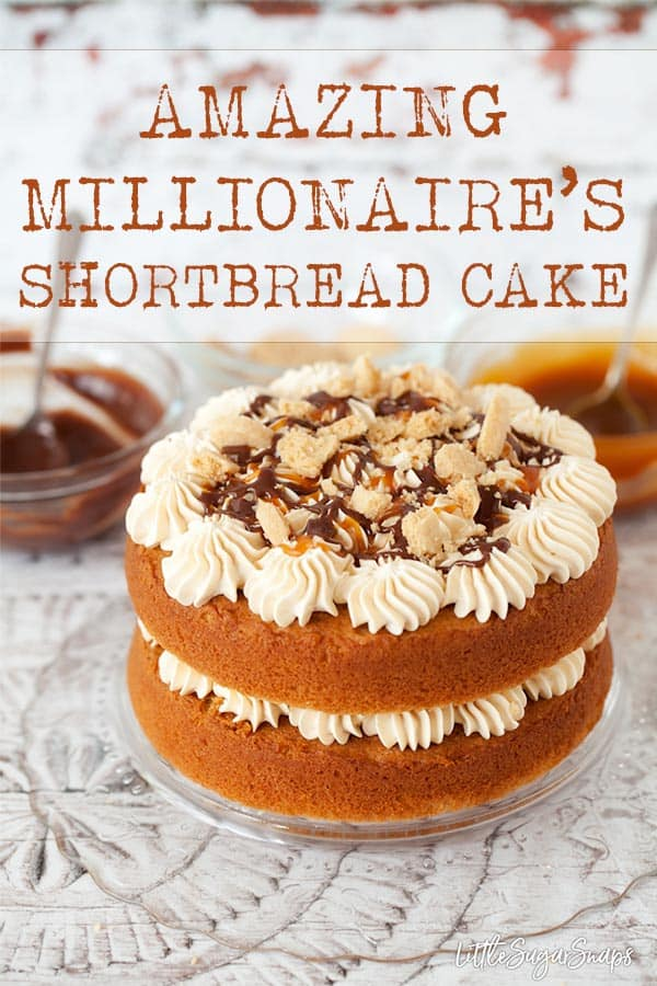 Millionaire's Shortbread Cake is a fantastic riff on its namesake bar. Layers of brown sugar sponge cake are piled full of caramel sauce, chocolate ganache and homemade shortbread. Who wants seconds? #millionairesshortbreadcake #millionairescaramelcake #millionairescake #caramelshortbreadcake #caramelcake #carameldripcake #dripcake