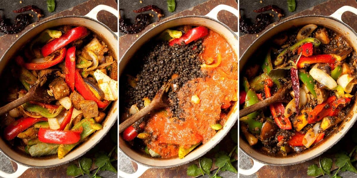step by step making a vegetarian rogan josh curry with aubergine and black lentils