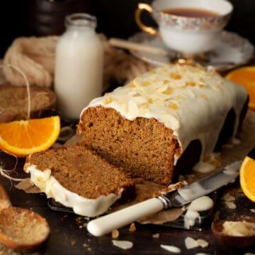 Ginger loaf cake with orange icing