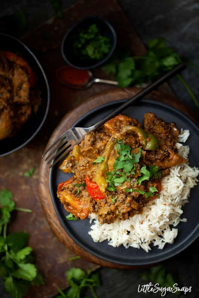 vegetarian rogan josh curry with black lentils and aubergine served over rice with fresh coriander garnish