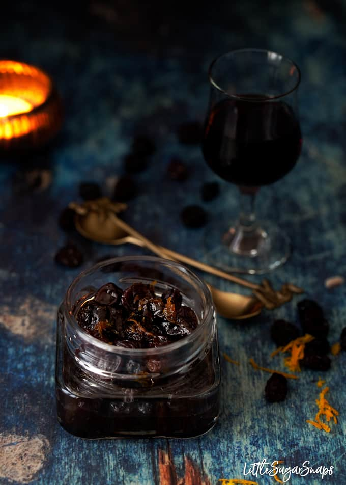 A jar of raisins and chopped prunes with orange zest soaked in Pedro Ximénez sherry.