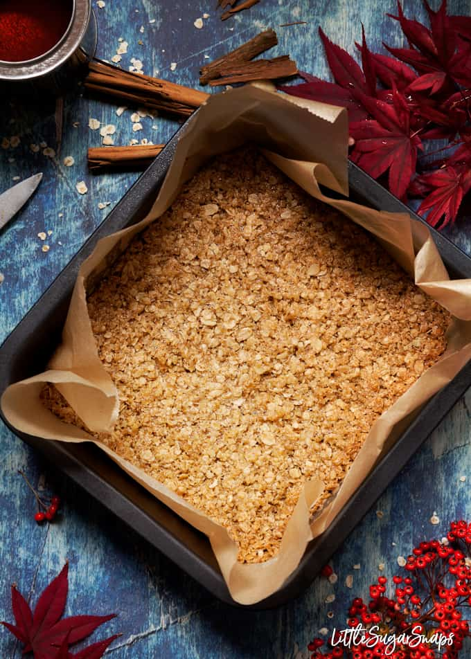 Flapjack in a baking tin surrounded by autumn foliage