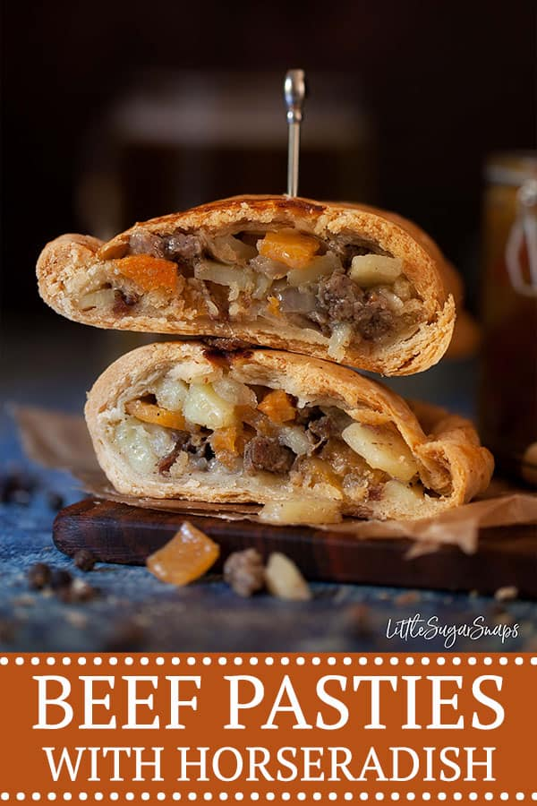 beef and horseradish pasty cut open and stackon up to reveal the filling inside beef, onion, potato and swede