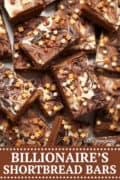 Billionaires Shortbread Bar - chocolate shortbread, salted caramel, triple chocolate swirl and fabulous sprinkles - pinterest image
