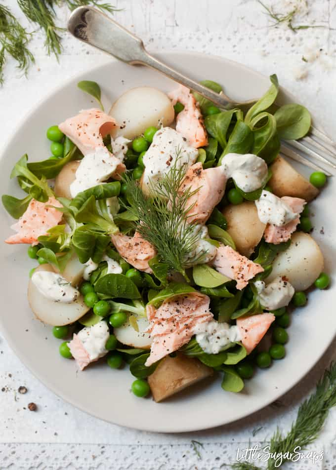 Salmon and Potato Salad with Horseradish Dressing with peas, lambs lettuce and dill.