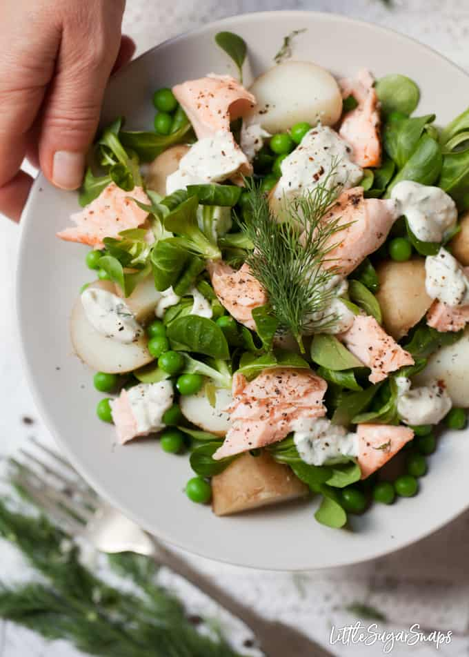 person taking a plate of Salmon and Potato Salad with Horseradish Dressing with peas, lambs lettuce and dill