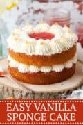 EASY VANILLA SPONGE CAKE image for pinterest