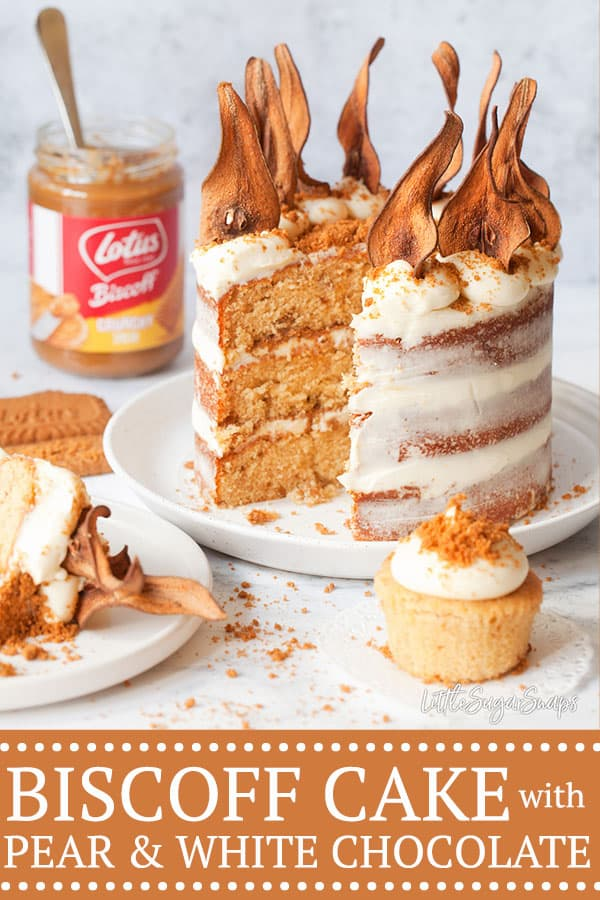 Biscoff and Pear cake recipe with white chocolate mascarpone frosting