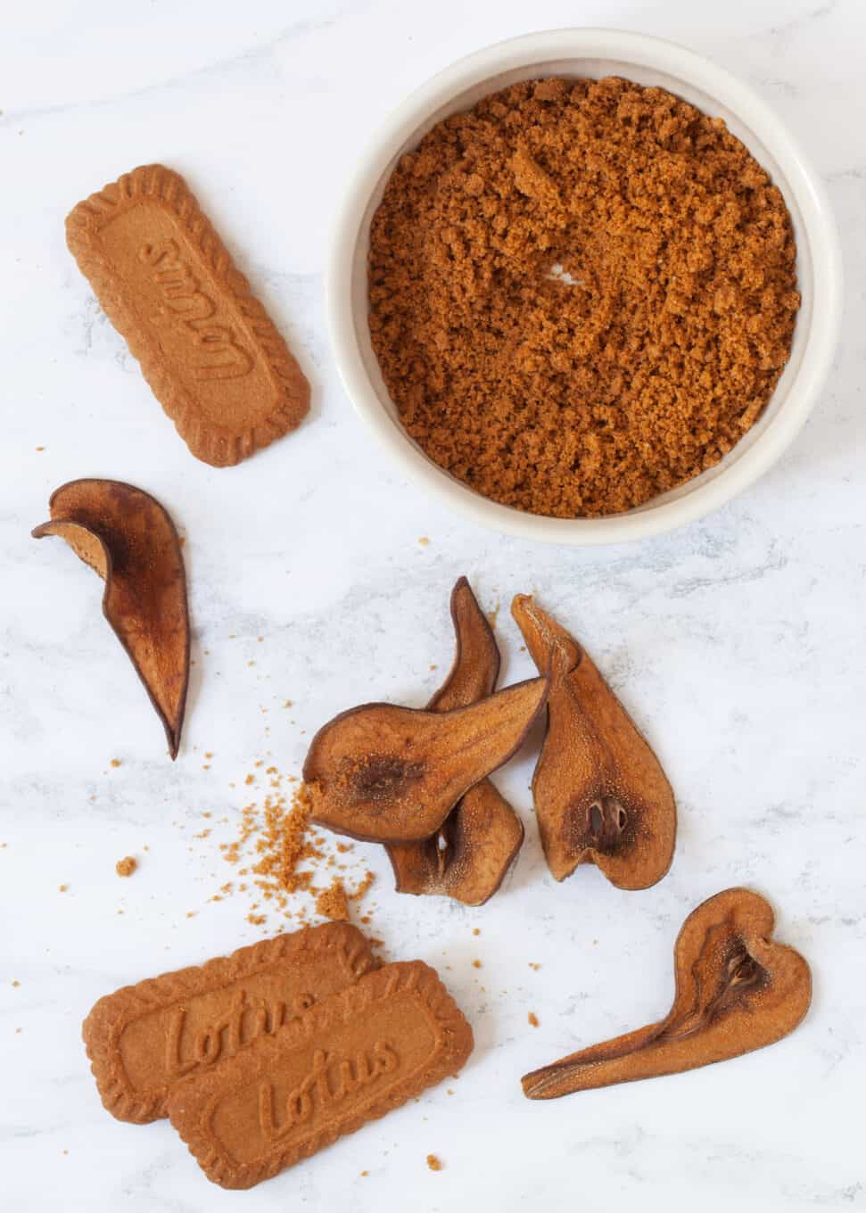 decorations for biscoff cake and cupcake recipes - cookie crumbs and pear wafers