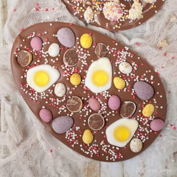 Homemade Easter Eggs with mini eggs and jelly sweet toppings